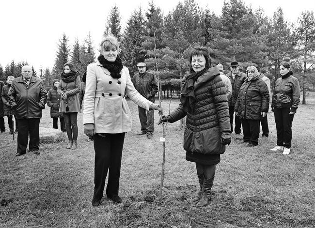 Norgėlų bendruomenės penkmečio proga Pasvalio VVG vadovė Helena Simonaitienė padovanojo liepaitę. Dešinėje – bendruomenės pirmininkė Rima Navadonskienė.